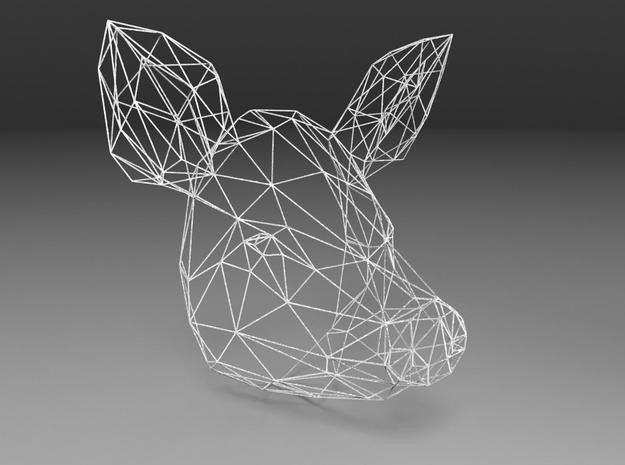 Wireframe pig head in White Strong & Flexible