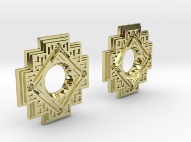 Inca Cross Earrings in 18k Gold Plated: Small