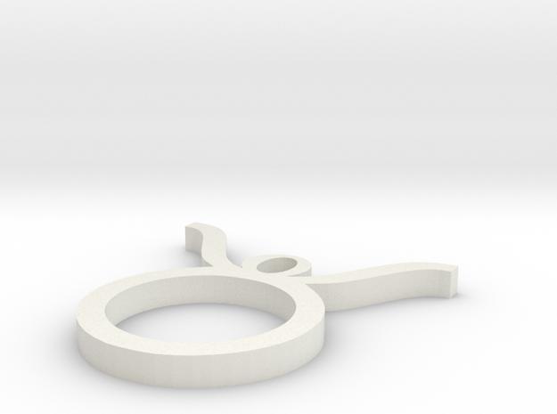 Taurus Pendant in White Natural Versatile Plastic