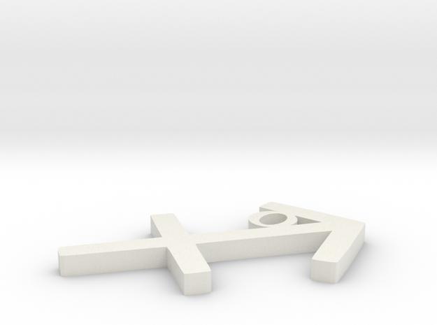Sagittarius Pendant in White Natural Versatile Plastic