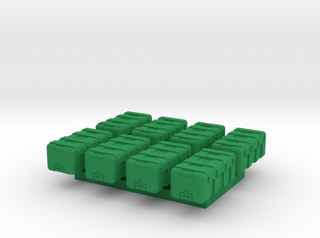 1/87 Scale Equipment Cases x8 in Green Strong & Flexible Polished