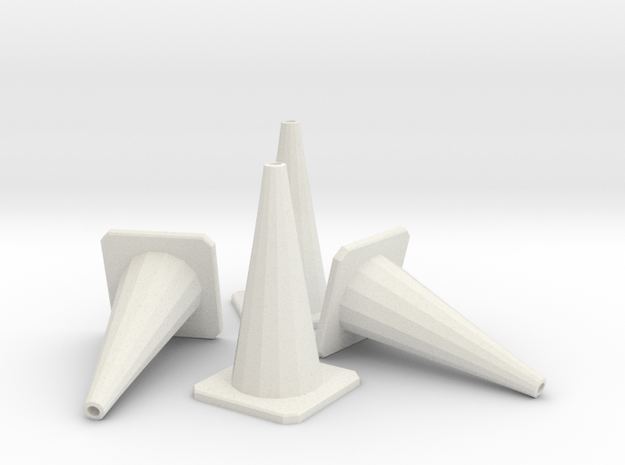 1/24 Traffic Cones X4 in White Strong & Flexible