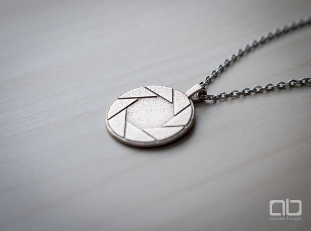 Aperture Science Laboratories Pendant - Portal in Polished Bronzed Silver Steel