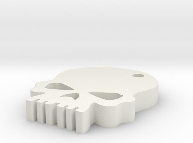 Skull keychain in White Strong & Flexible