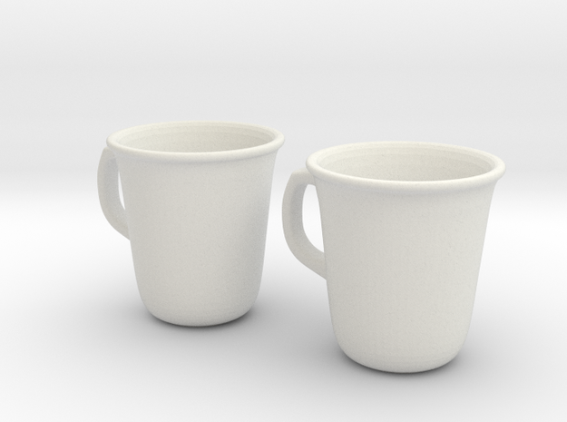 Coffee Tea cup mug set 1/6 miniature in White Strong & Flexible
