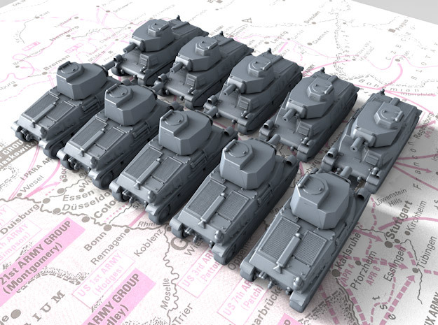 1/600 French SARL 42 Medium Tank x10 in Smoothest Fine Detail Plastic