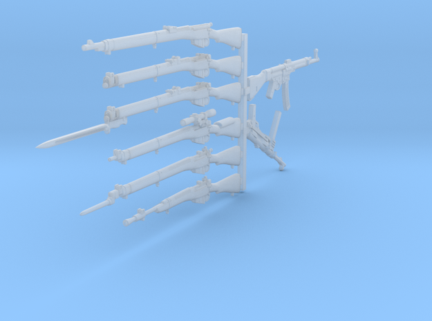 1/30 scale Lee Enfield rifles + Stg-44 and MP-38 in Frosted Extreme Detail