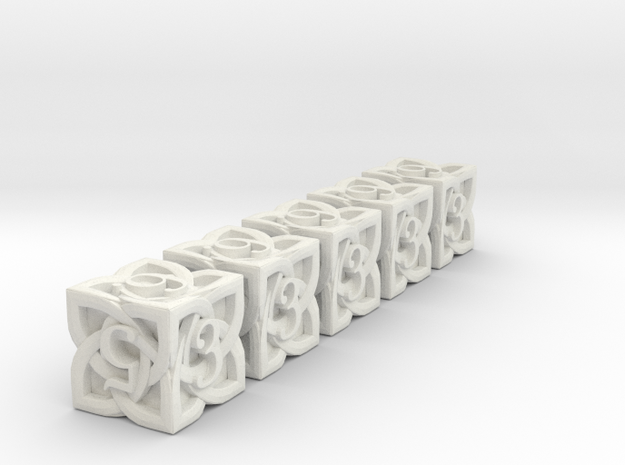 Celtic D6 x5 Dice Set - Solid Centre for Plastic in White Strong & Flexible