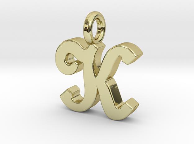 K - Pendant - 2mm thk. in 18k Gold Plated Brass