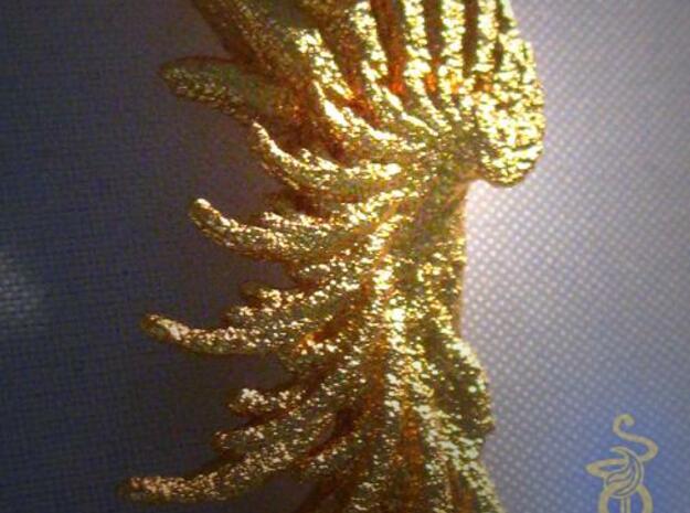 Wing Pendant : Fractal wing design in metal 3d printed 2