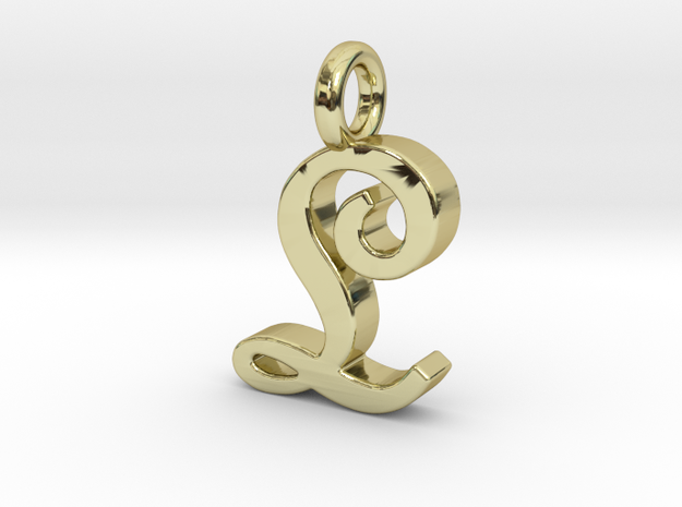 L - Pendant - 2mm thk. in 18k Gold Plated Brass