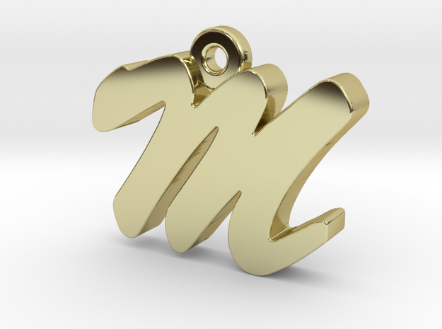 M - Pendant - 2mm thk. in 18k Gold Plated Brass