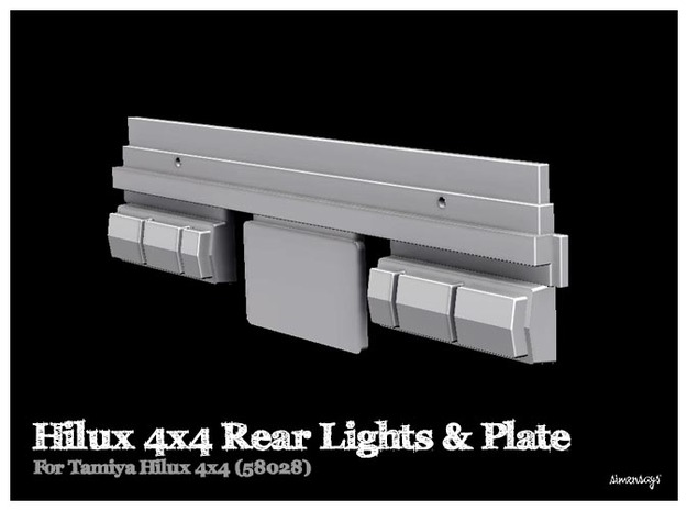 Simensays Tamiya Hilux 4x4 Rear Lights & Plate in White Strong & Flexible Polished