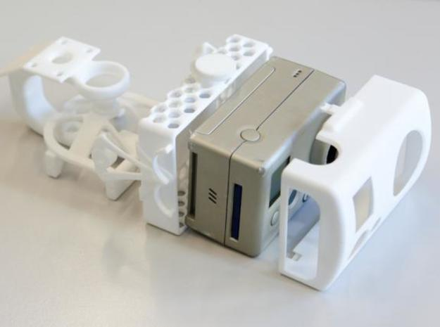 3-axis camera gimbal for GoPro (back cage) in White Natural Versatile Plastic