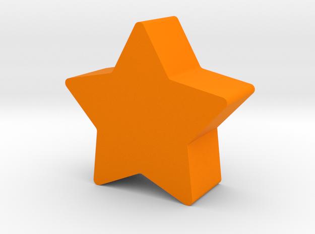 Star Game Piece in Orange Processed Versatile Plastic