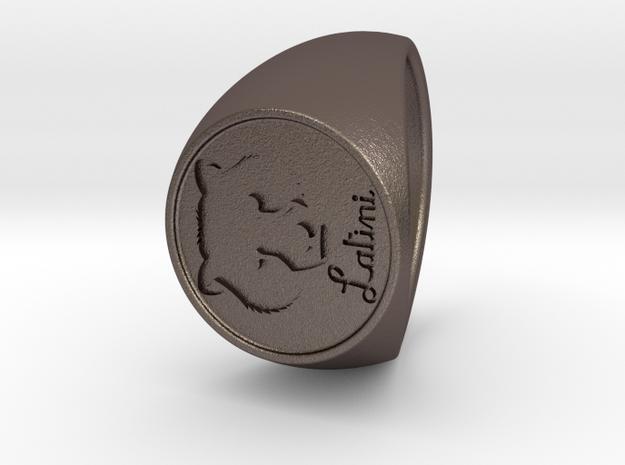 Custom Signet Ring 57 v2 in Polished Bronzed Silver Steel
