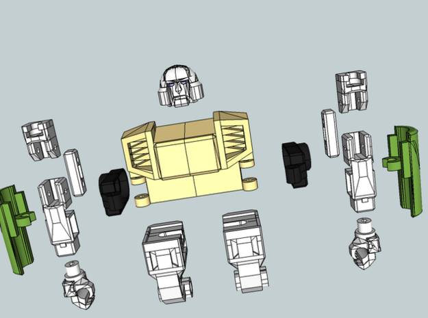 """MtMtE"" Strong Stumpy Robot Parts 3d printed Coloured Render"