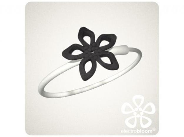 Elizabeth flower charm. 3d printed BLACK ELIZABETH FLOWER CHARM ON WHITE SNAP BANGLE