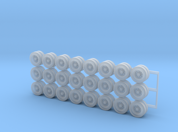 Tractor Trailer Wheels & Tires V2 - 24 Pack in Smooth Fine Detail Plastic