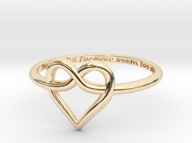 Infinity Love Ring in 14k Gold Plated Brass: 6 / 51.5