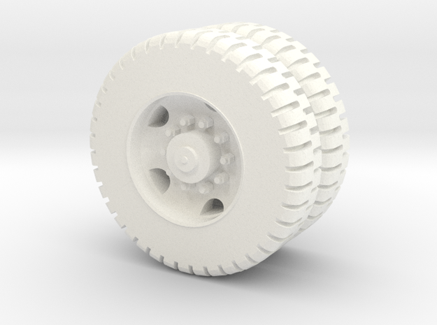 M809 11.0-20 NDT Dual Rear Wheel 1/72 in White Processed Versatile Plastic
