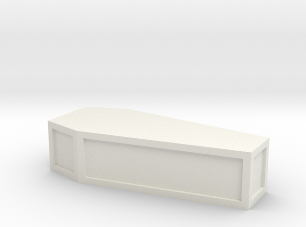 "1"" long flat-top coffin in White Natural Versatile Plastic"