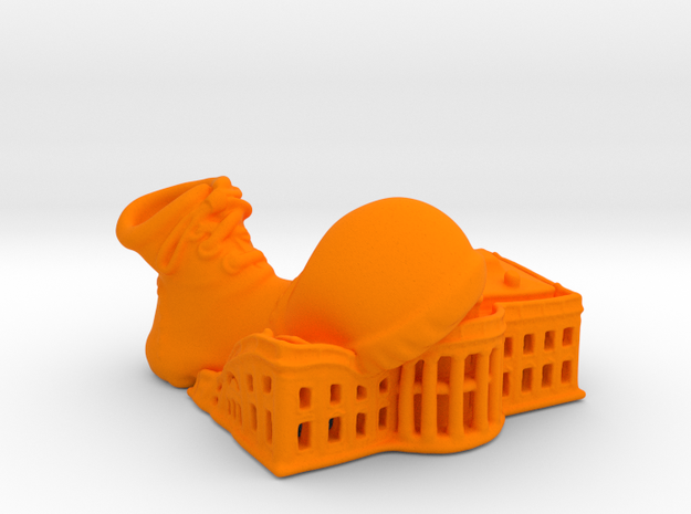 Clown Shoe Squish Plastic v2 in Orange Strong & Flexible Polished: Extra Small