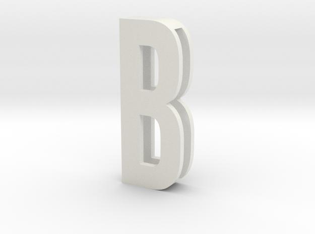Choker Slide Letters (4cm) - Letter B in White Natural Versatile Plastic