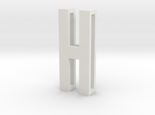 Choker Slide Letters (4cm) - Letter H in White Natural Versatile Plastic