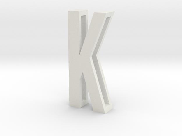 Choker Slide Letters (4cm) - Letter K in White Natural Versatile Plastic