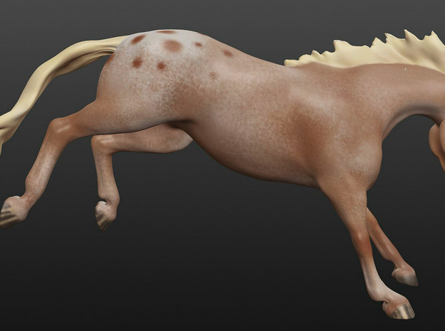 Bucking/Leaping Horse 3d printed 3D render of the model, with color.