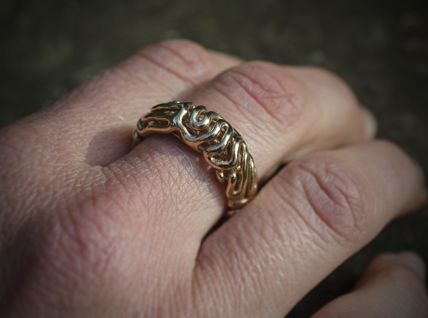 Reaction Diffusion Ring 5 (size 60) in Polished Brass