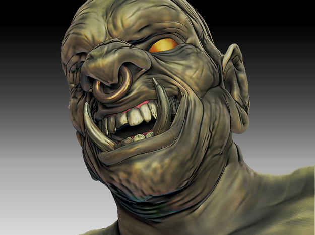 3D Ogre Bust in White Strong & Flexible Polished