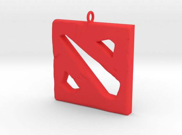 DOTA 2 Polygonal Logo Pendant Keychain Necklace in Red Processed Versatile Plastic
