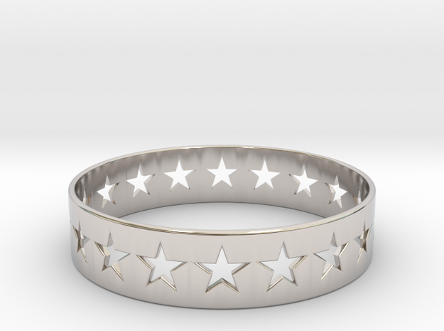 Stars Around (5 points, cut through, thin) - Ring in Rhodium Plated Brass: 6 / 51.5