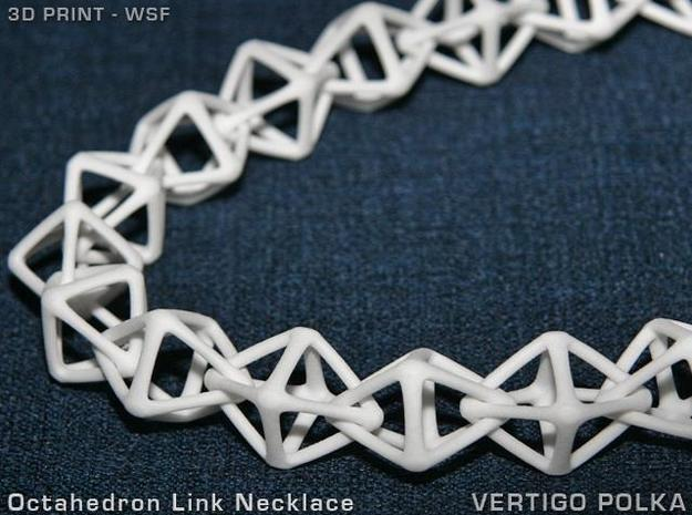 Octahedron Link Necklace in White Natural Versatile Plastic