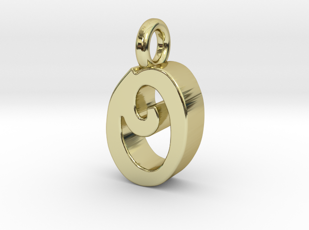 O - Pendant 3mm thk. in 18k Gold Plated Brass