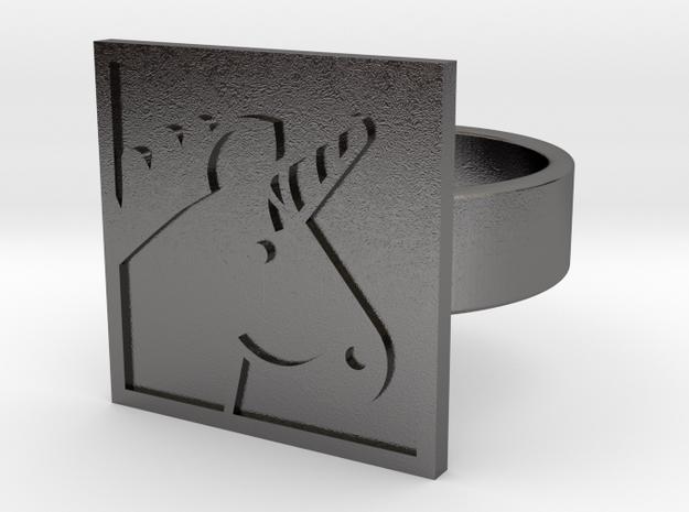 Unicorn Ring in Polished Nickel Steel: 10 / 61.5