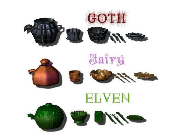 Goth Tea set 3d printed Description
