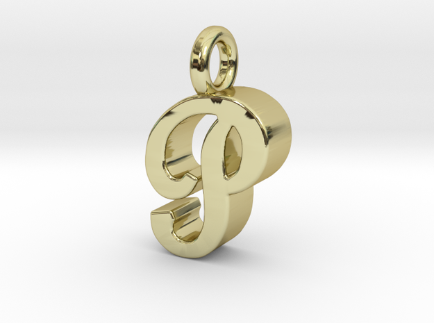 P - Pendant 3mm thk. in 18k Gold Plated Brass