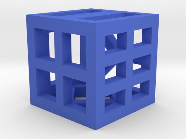 Hollow Dice in Blue Processed Versatile Plastic