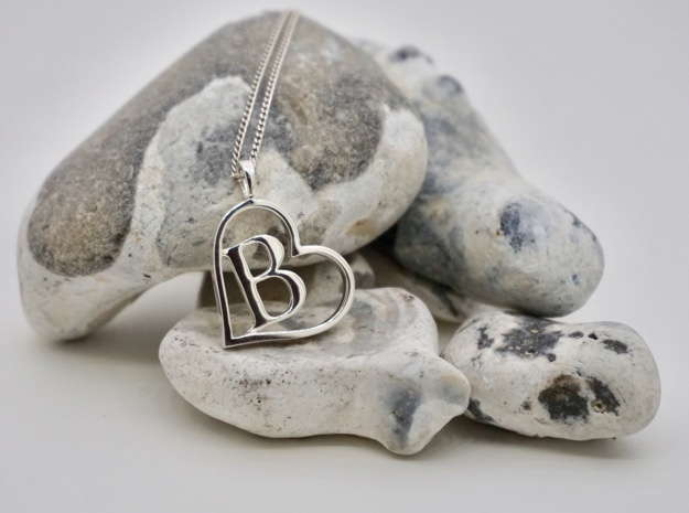 Alpha Heart 'B' Series 1 in Fine Detail Polished Silver