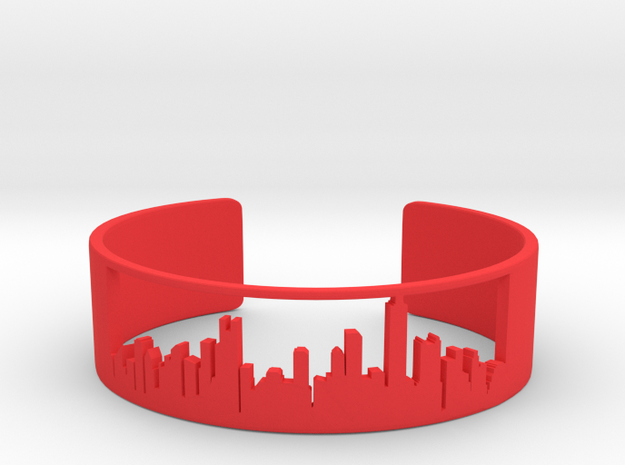 Chicago Skyline Bracelet v2.0 in Red Processed Versatile Plastic
