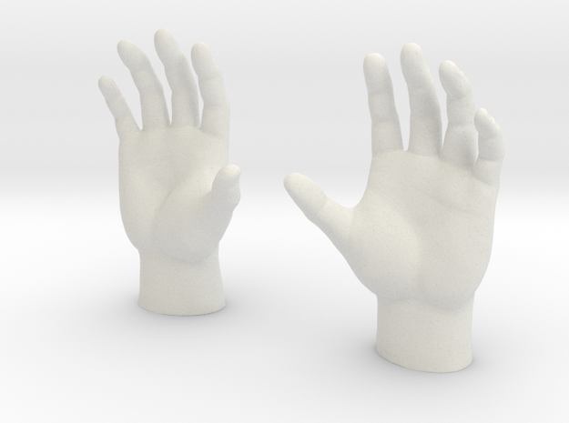 Generic Male Hands - Open Cupped in White Strong & Flexible
