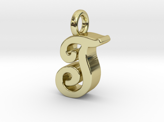 T - Pendant 3mm thk. in 18k Gold Plated Brass