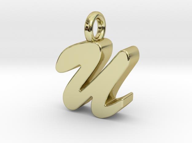 U - Pendant 3mm thk. in 18k Gold Plated Brass