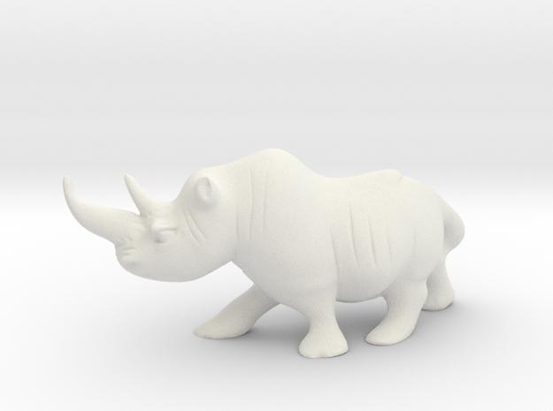 Cute Rhino  in White Natural Versatile Plastic
