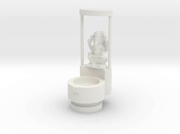 Candel_stand_With_Ganesha_idol in White Natural Versatile Plastic