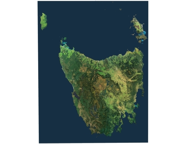 Tasmania Map, Australia in Full Color Sandstone
