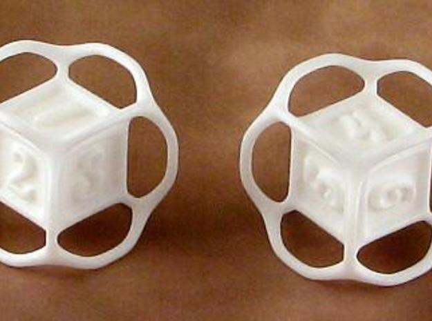 Die with handles 3d printed Printed in white, strong, and flexible polished